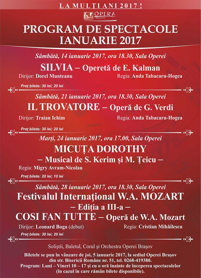 Program ianuarie 2017
