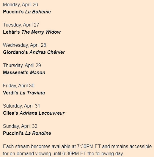 New York Opera schedule for 26th of April - 2nd of May